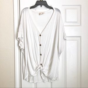 White button up knot top
